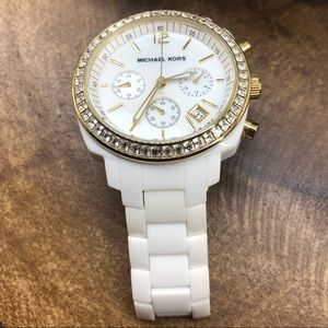 Michael Kors Accessories - Michael Kors White Acrylic, Gold, and CZ Watch